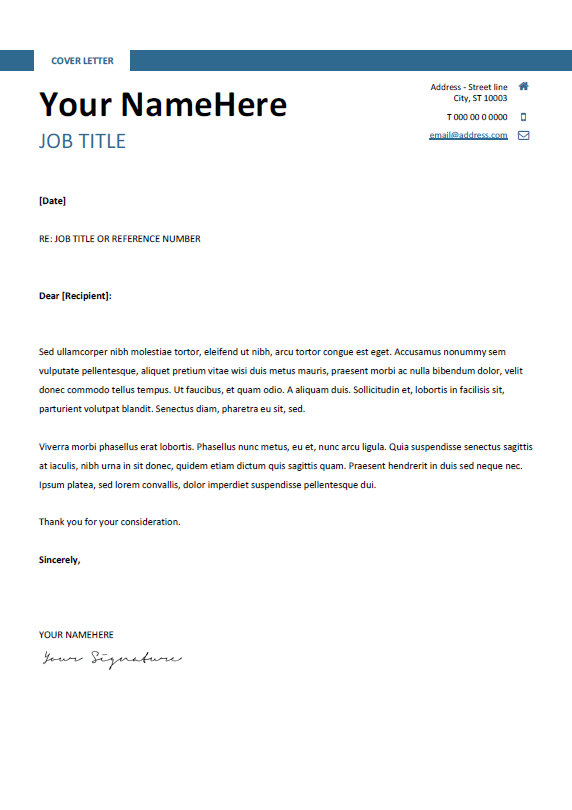 ... Free Clean And Simple Cover Letter Template For Word (DOCX)   Blue ...  Simple Cover Letter Template