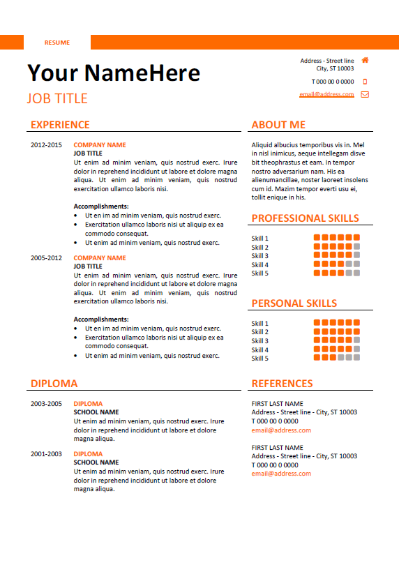 resume template docx - Simple Resumes Templates