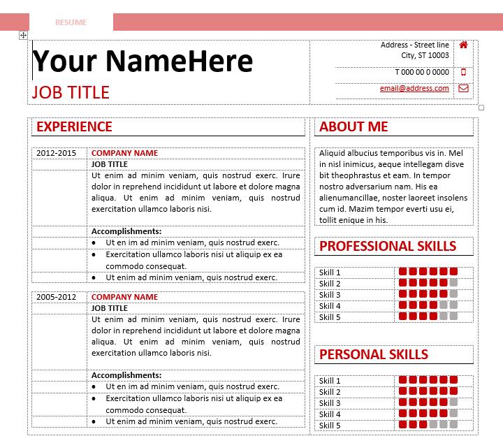 calibri writing a resume