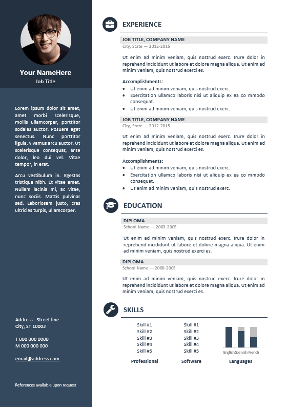 orienta free professional resume cv template blue - Professional Template For Resume