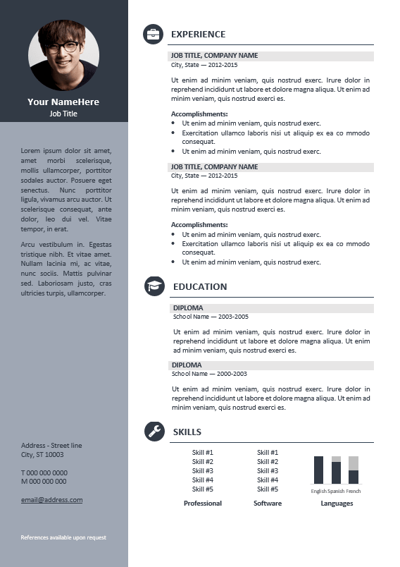 orienta free professional resume cv template gray - Professional Resume Template
