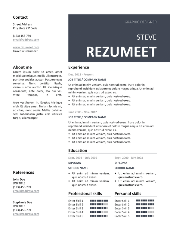 peckham free resume template gray