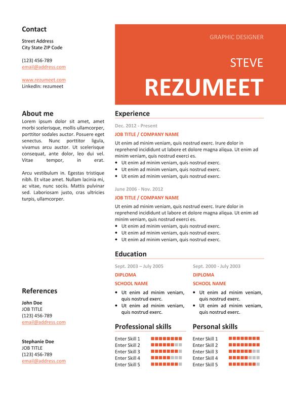 peckham free resume    cv template
