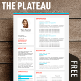 the plateau is a free modern resume template with a fresh style - Free Modern Resume Template