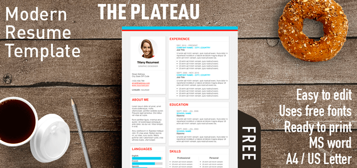 the plateau is a free modern resume template with a fresh style