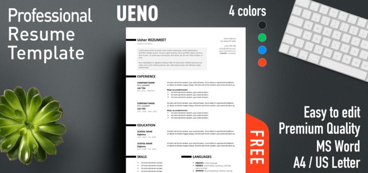 ueno free professional resume template for ms word with a bright and clean style - Free Professional Resume Template