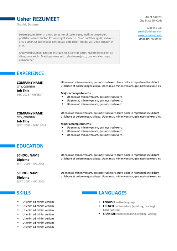 ueno free professional resume template blue version - Professional Resumes Templates Free