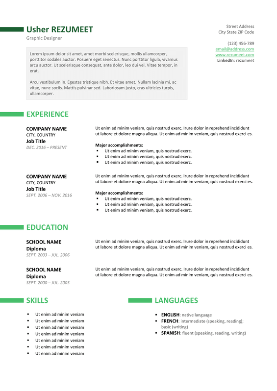 Resume Templates For It Professionals | Resume Template