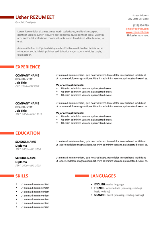 ueno free professional resume template orange version - Free Professional Resume Format