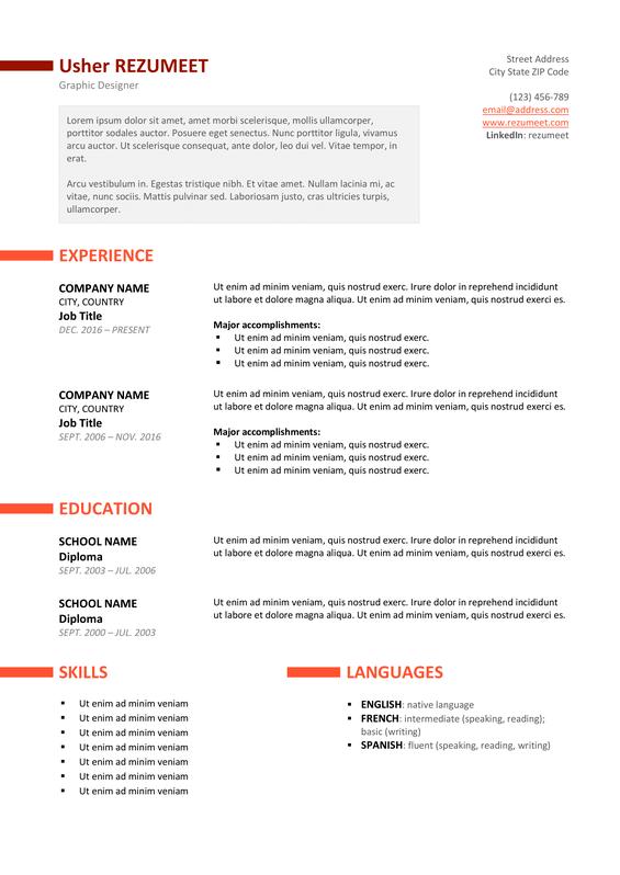 ueno free professional resume template orange version - Free Job Resume Template