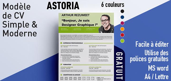 Astoria - modèle gratuit de CV simple et moderne
