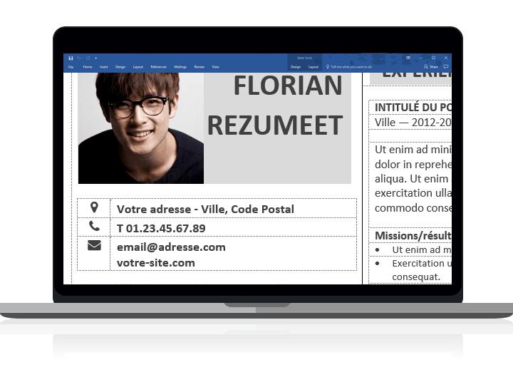 Fitzroy - Modèle de CV avec bordure clairement organisé avec des tableaux