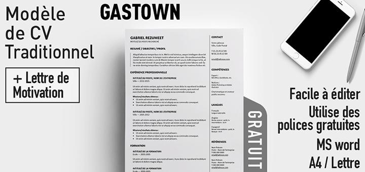 Gastown - Modèle de CV gratuit et traditionnel