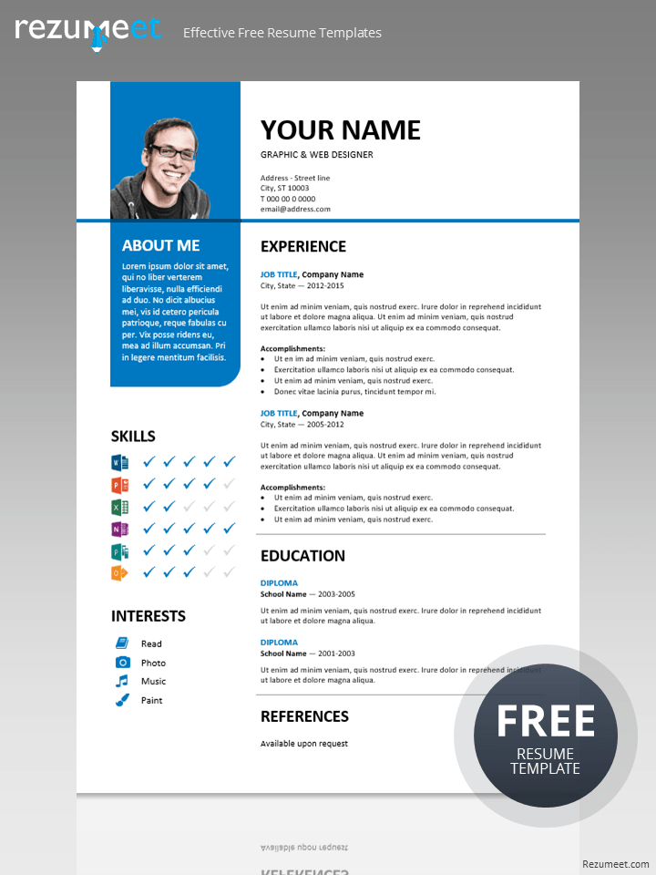 Stylish free resume template