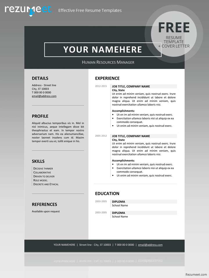 Amazing Free Clean Resume Template Regard To Clean Resume Templates