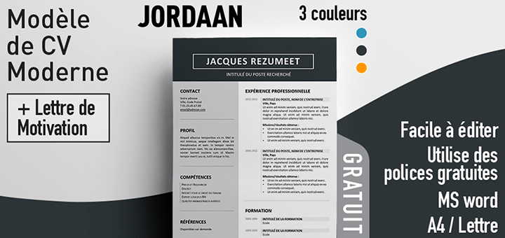 modele cv word gratuit simple