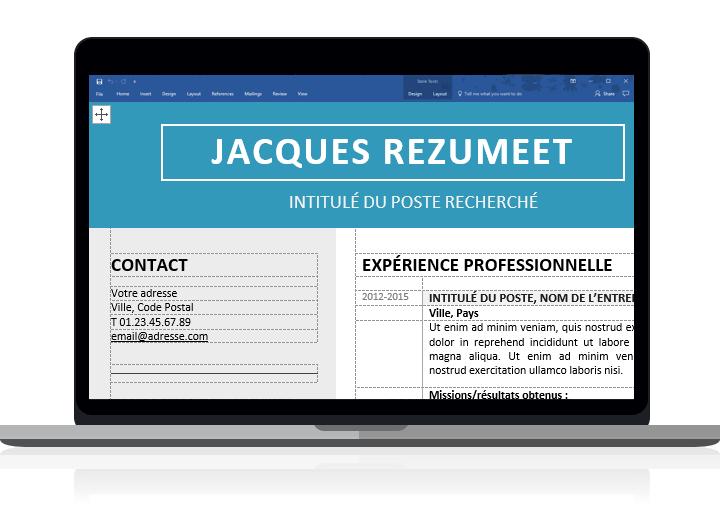 Jordaan - Modèle de CV moderne pour Word clairement organisé avec des tableaux