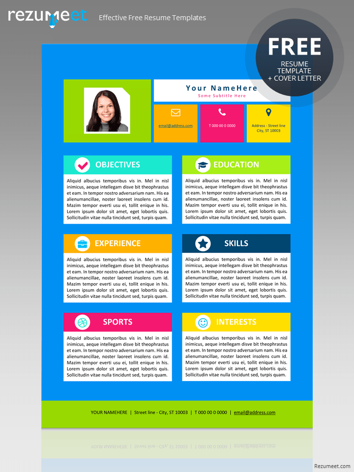 Free Resume Template For Kids  Colorful Resume Templates