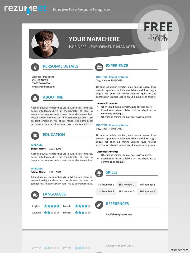 Free Modern Resume Template  Contemporary Resume Templates Free