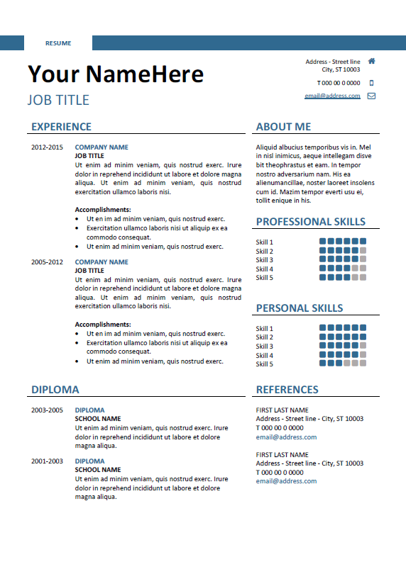 First Resume Template Download