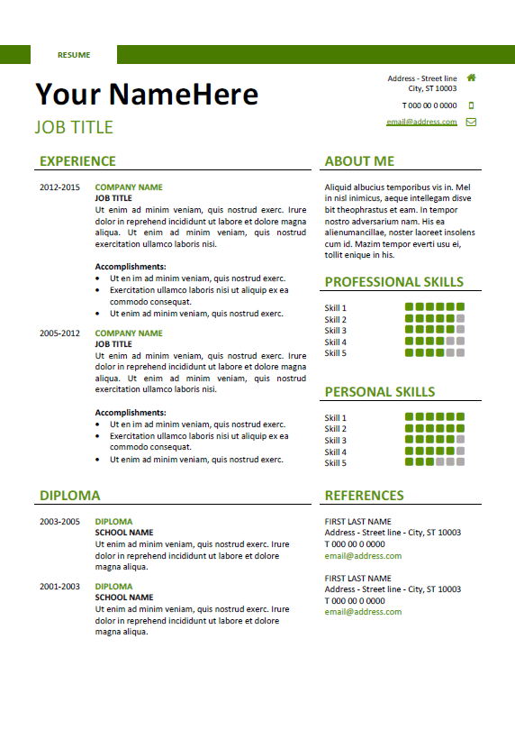 Montjuic - Clean and Simple Resume Template