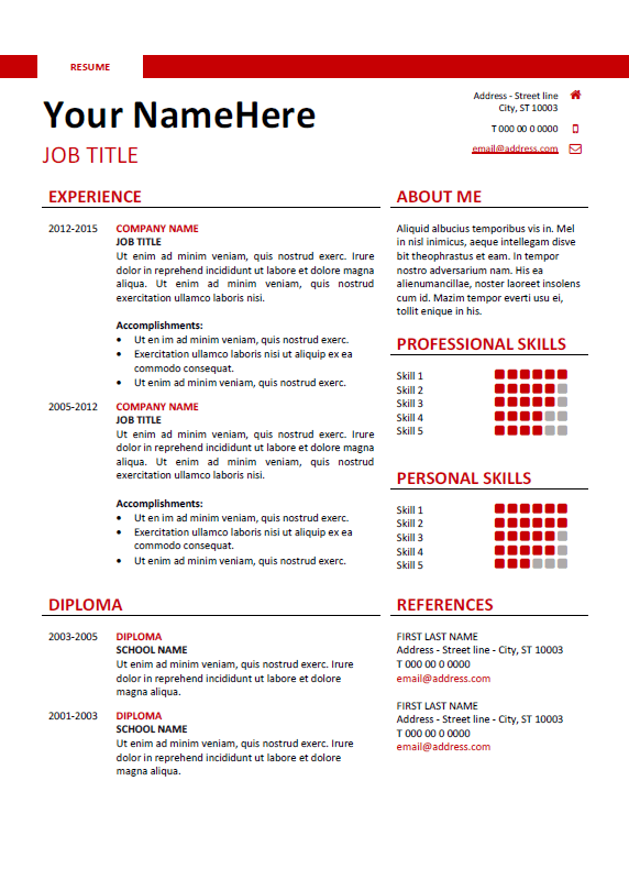 Free Clean And Simple Resume Template For Word (DOCX)   Red