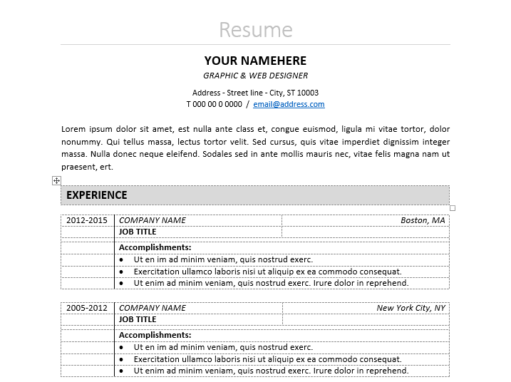 Free Well Organized, Table Formatted Classic Resume Template