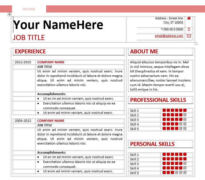 table formatted free clean and simple resume template for ms word