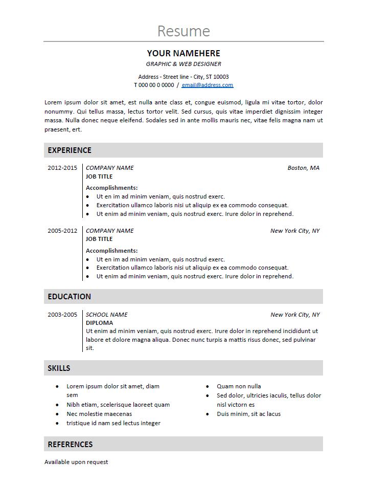 nakameguro classic resume template