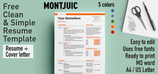 montjuic clean and simple resume template. Resume Example. Resume CV Cover Letter