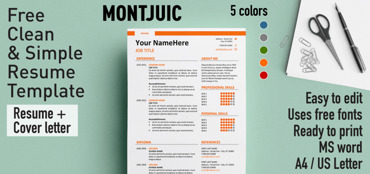 Montjuic Clean And Simple Resume Template. October 10 ...