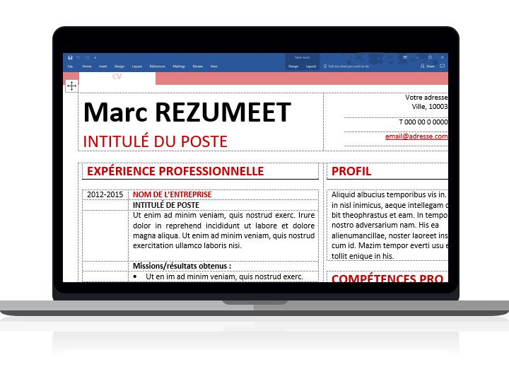 Montjuic - Modèle de CV simple pour Word clairement organisé avec des tableaux