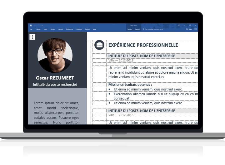 Orienta - Modèle de CV classique et professionnel pour Word clairement organisé avec des tableaux