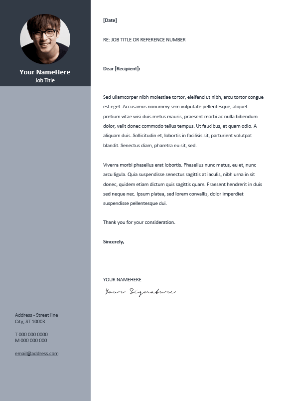 orienta free professional cover letter template gray - Free Resume And Cover Letter Templates