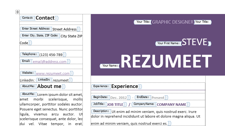 extremely easy to edit resume cv template built with text content control function from word