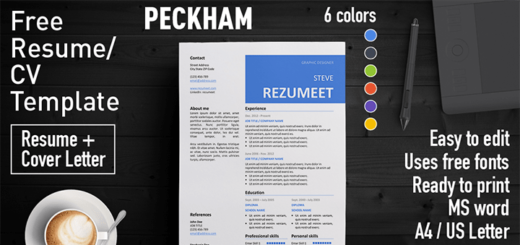 Free resume templates with colored header rezumeet peckham free resume cv template yelopaper Images