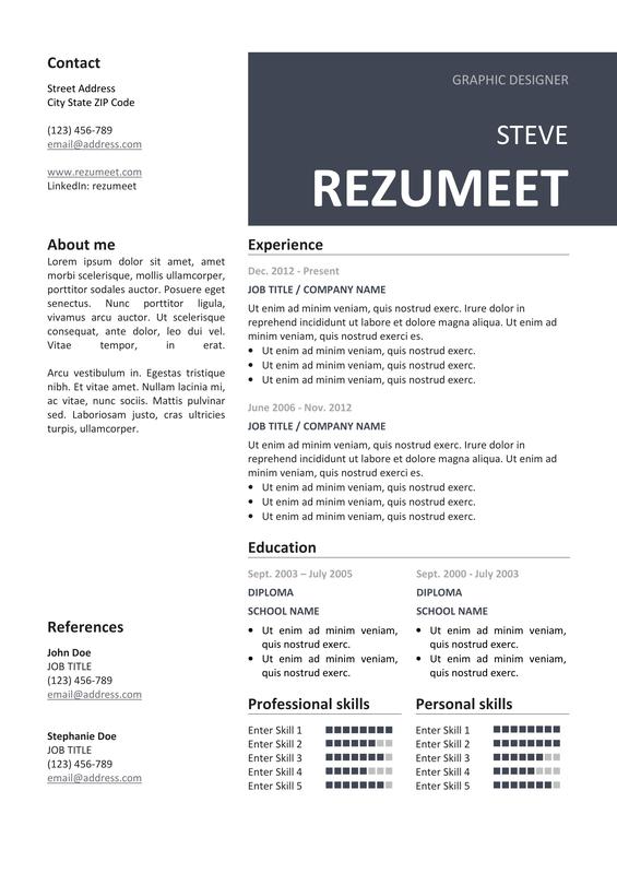 peckham free resume cv template rezumeet com