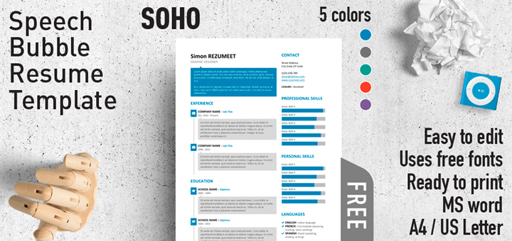 SoHo Free Speech Bubble Resume Template For Word