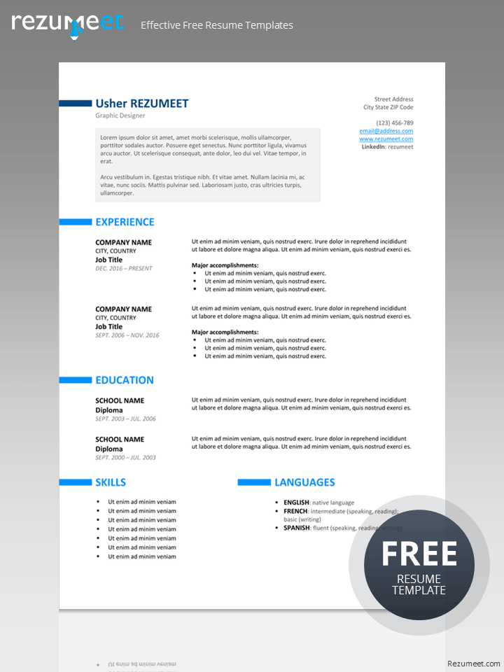 ueno free professional resume template for word - Free Professional Resume Template Word