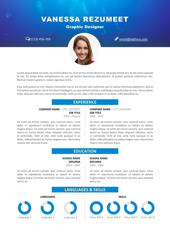 Vesterbro   Free Nature Resume Template   Scuba Diving