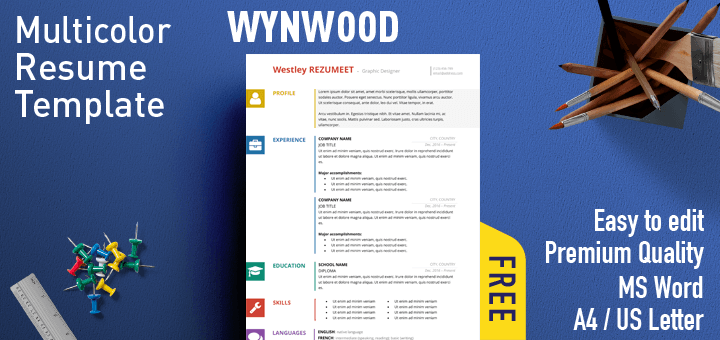 wynwood multicolor resume template - Effective Resume Templates