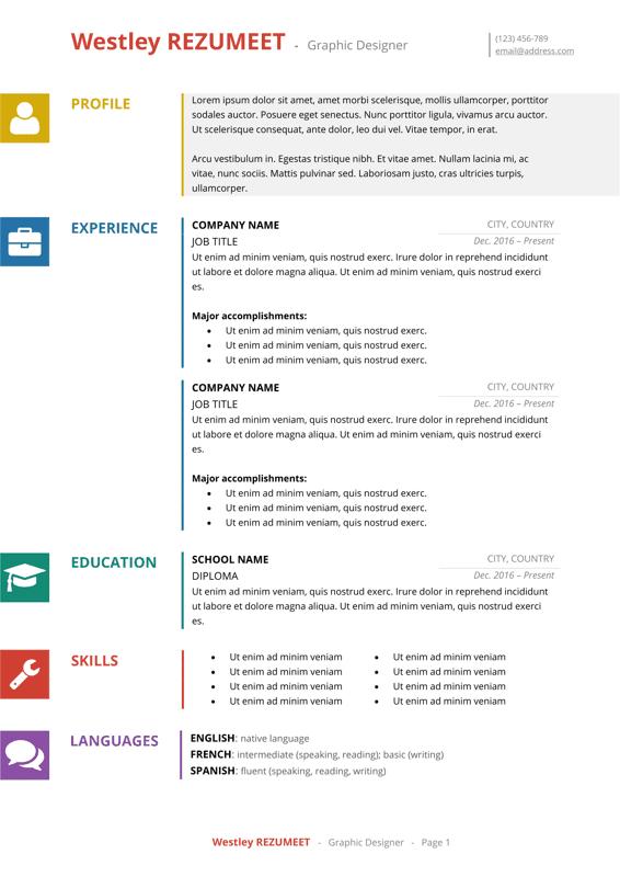 wynwood multicolor resume template
