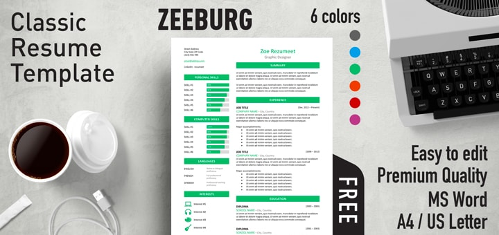 zeeburg free classic resume template for ms word - Free Resume Templates