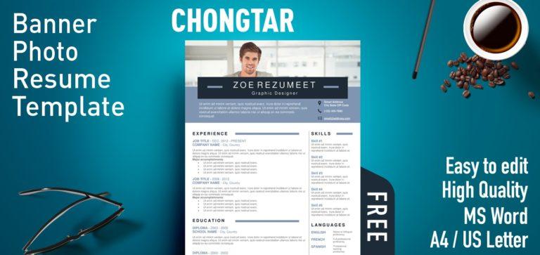 Chongtar - Free Banner Photo Resume Template
