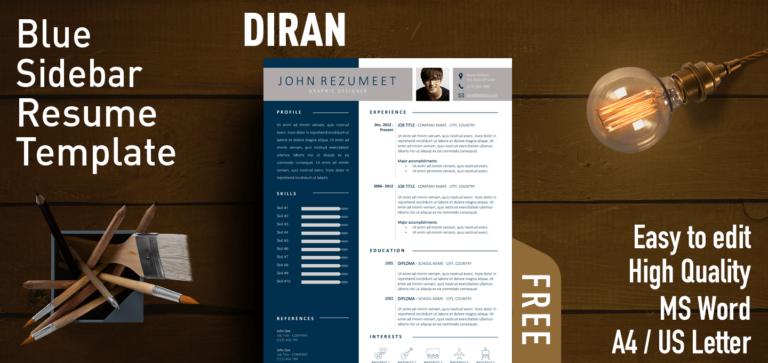Diran - Blue Sidebar Resume Template