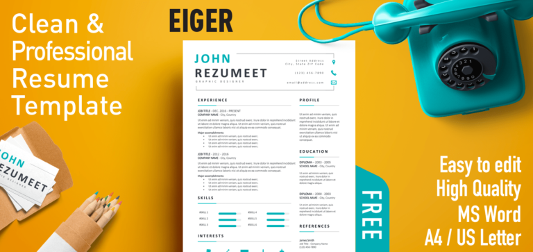 Eiger - Free Clean & Professional Resume Template