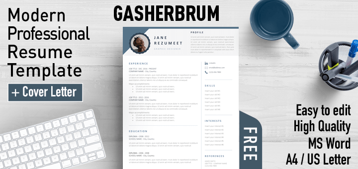 Gasherbrum - Free Modern Professional Resume Template